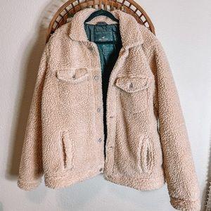 Oversized cream Sherpa button up jacket